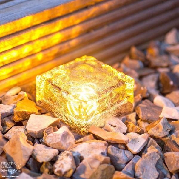 """Description: Light up your garden path or lawn edge with ease using these """"rock solid"""" Glass Brick Path Lights! Place them in full sung along driveways, carpo"""