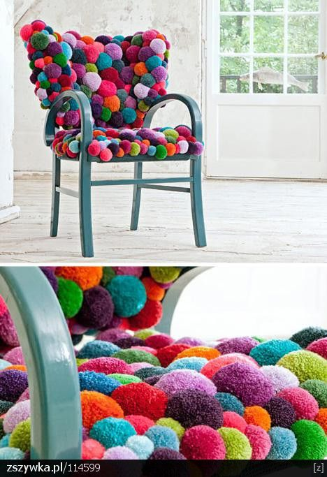what a fun idea for a chair! would be great in a teen room. This would be fun for your butterfly chair with the stain