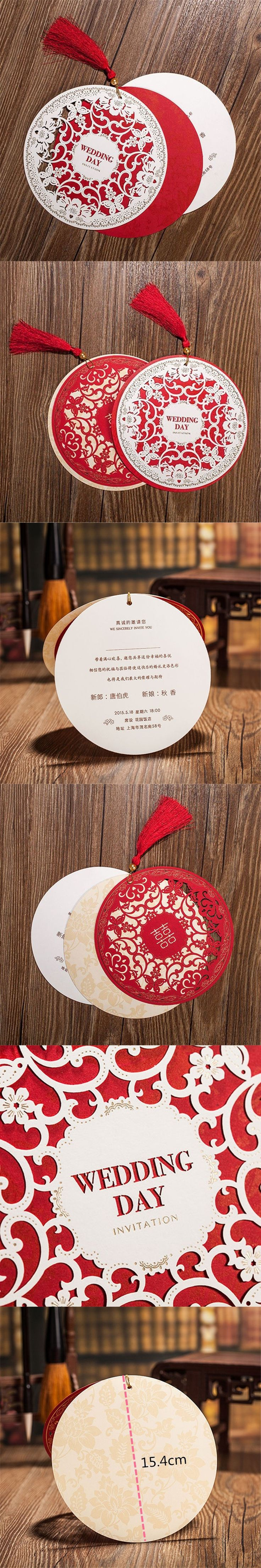Chinese Style Wedding Invitations Card 15.4cm Diameter Floral Design Envelope Pure Love Red White Elegant Round Party Supplies $3.92