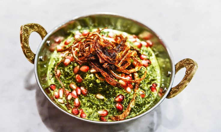 An all-day Indian cafe, the first outpost from the Houston chef Anita Jaisinghani:   The chef and owner of Pondicheri, Anita Jaisinghani, chose New York as the first site of a string of all-day Indian cafes she hopes to open around the country, modeled on her original in Houston. Here, the saag paneer made with mustard greens.