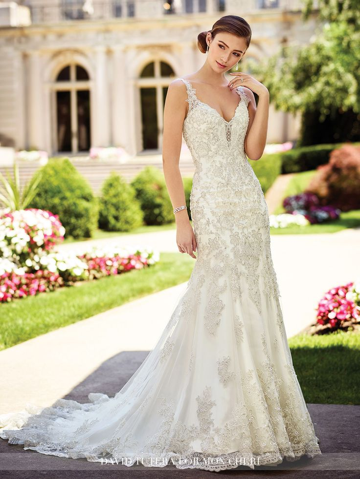 154 best david tutera for mon cheri images on pinterest wedding 2017 david tutera for mon cheri chrisann gown re embroidered alenon metallic lace on junglespirit Choice Image