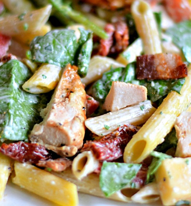 Smoked Mozzerella, Chicken, Spinach and Penne Salad  The name pretty much says it all !!