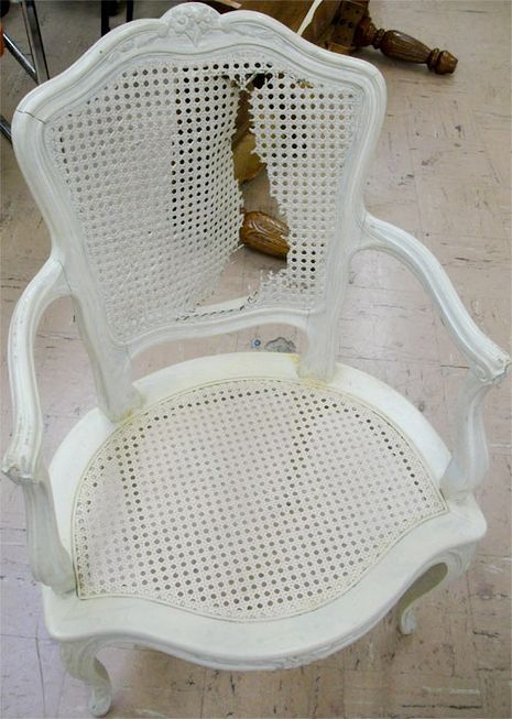 Secondhand chairs often have a major drawback; torn or missing cane on the seat, back, or both. The easiest way around the damage is to rip it out and replace...