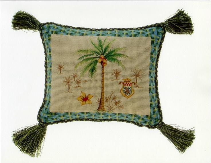 Needlepoint pillow in Plantation Breeze