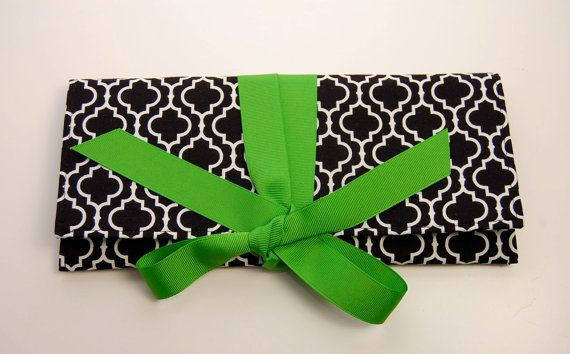 Shoply.com -THE ALEXIS CLUTCH in black and white tile with apple green. Only $45.00