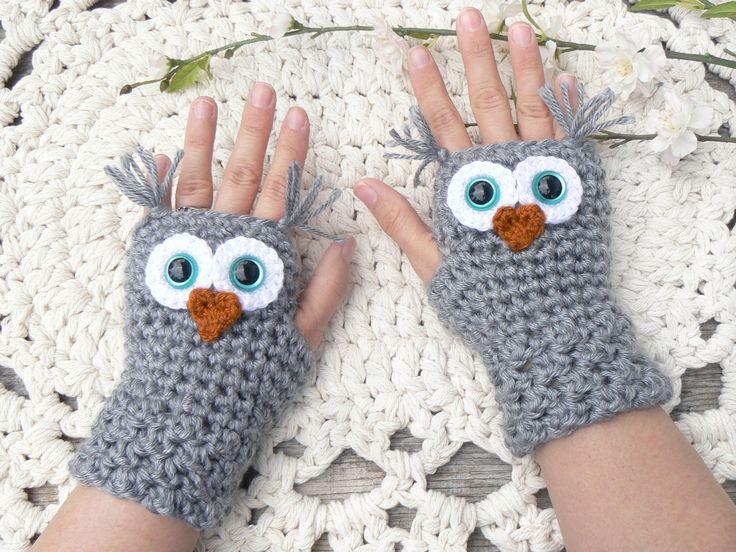 crochet wrist warmers owl