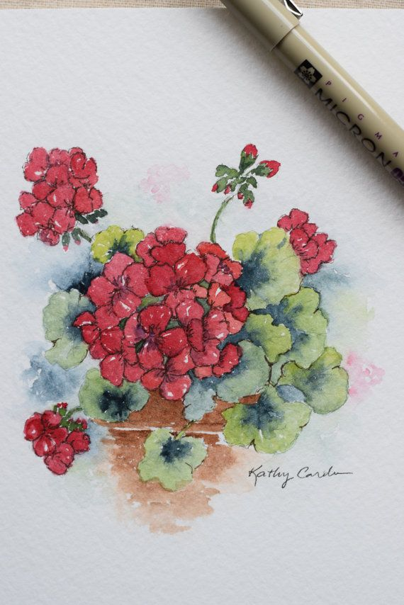 Pretty Red Geranium!!!  Prints- This is a print from the original hand-painted watercolor greeting card on 140 lbs. acid free, Strathmore