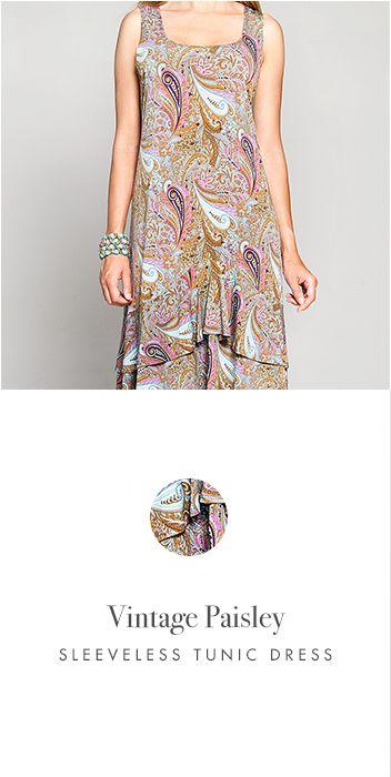 VINTAGE PAISLEY SLEEVELESS TUNIC DRESS http://www.kimco.ca/product/vintage-paisley-sleeveless-less-tunic-dress/
