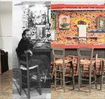 Το έργο «Βar»,  όπως θα  παρουσιαστεί  στην Αθήνα.  Ο Αλέξης  Ακριθάκης  μπροστά  στο «Βar»  το 1981