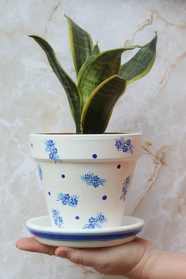 The Bluebelle Planter Painted Blue And White Plant Pot Mother Nature Collection Small Flower Pots Painted Flower Pots Flower Pots