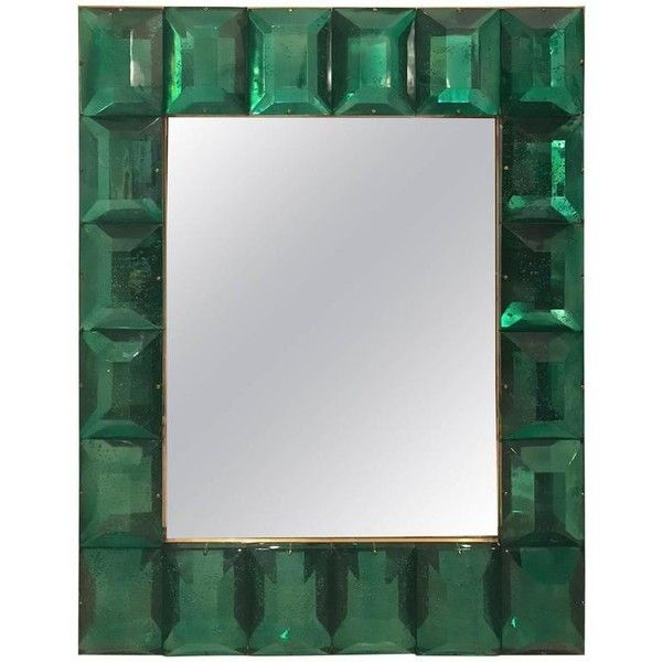 Emerald Green Murano Glass Framed Mirror ($6,800) ❤ liked on Polyvore featuring home, home decor, mirrors, green, wall mirrors, vertical mirror, colored wall mirrors, colored mirrors, green framed mirror and green mirror