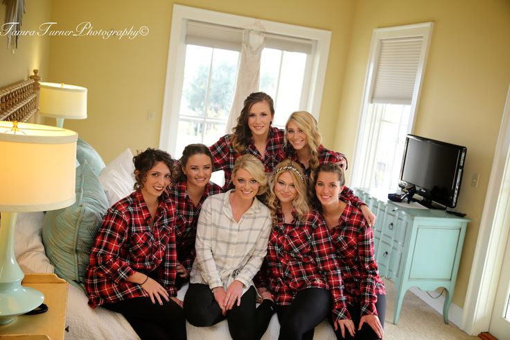 Absolutely love this idea for gifts for your bridesmaids, matching plaid button down shirts monogrammed with each bridesmaid's initials, fun bridesmaid photos on your wedding day, Greenville SC wedding photographer Tamra Turner Photography