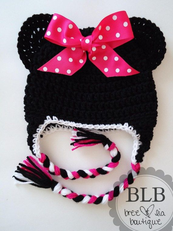 Minnie Mouse crochet hat. So cute!