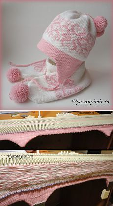 Standing yarn on a knitting machine...  I would lose my mind!!  Детская шапка с ушками на вязальной машине.