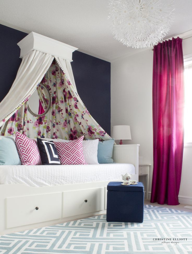 Tea Party Chic Big Girl Room - how amazing is this floral canopy over the IKEA day bed?! Swoon!