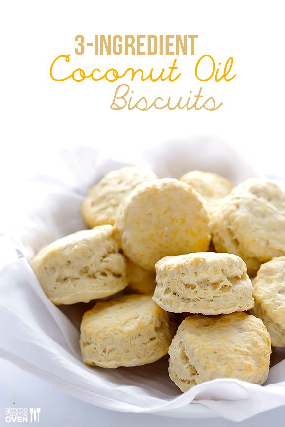 3-Ingredient Vegan Coconut Oil Biscuits - Gimme Some Oven - Make with whole grain flour!
