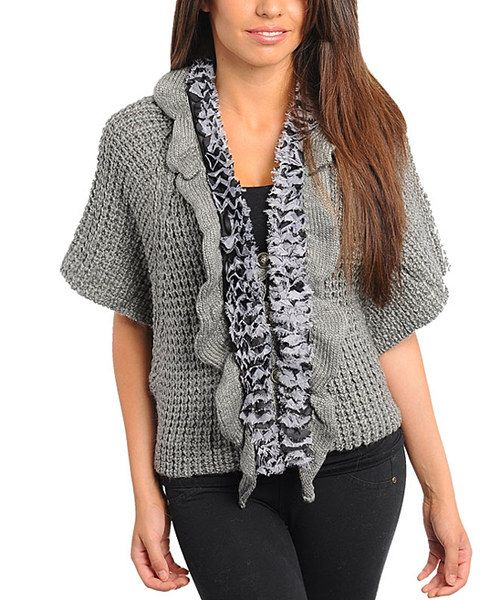 Take a look at this 24 7 Frenzy Gray Ruffle Short-Sleeve Wool-Blend Cardigan on zulily today!