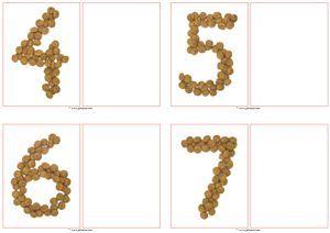 Cijferkaarten van kruidnoten tot en met 20. Laat de kinderen met echte kruidnoten het juiste aantal ernaast leggen - Juf Sanne