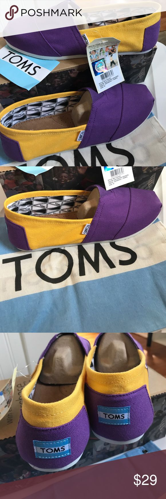 Toms classics canvas University of East Carolina Classics Purple and gold very summery and crisp. New in box 📦  Light weight canvas slipons, the shoe that made TOMS famous! University of East Carolina University or other schools with Purple and gold. TOMS Shoes Loafers & Slip-Ons
