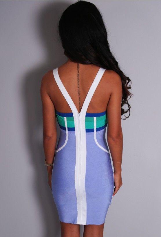 VIP Blake Lilac and Green Bandage Mini Dress