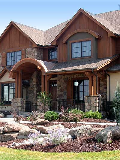 30 best ideas about stone yard on pinterest columns for Stone front house designs