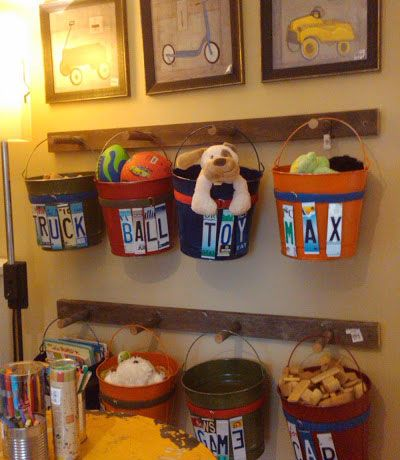 DIY Mason Jar Storage - Recycled Buckets Toy Storage - Click Pic for 44 Easy Organization Ideas for the Home