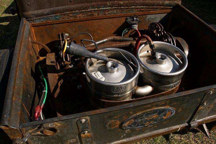 ratrod beer keg gas tank setup with dual kegs. A