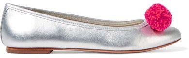 Sophia Webster - Bo Pompom-embellished Metallic Leather Ballet Flats - Silver #silver #flat #pompom #pink #hotpink