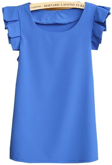 Blue Round Neck Pleated Short Sleeve Chiffon Blouse pictures