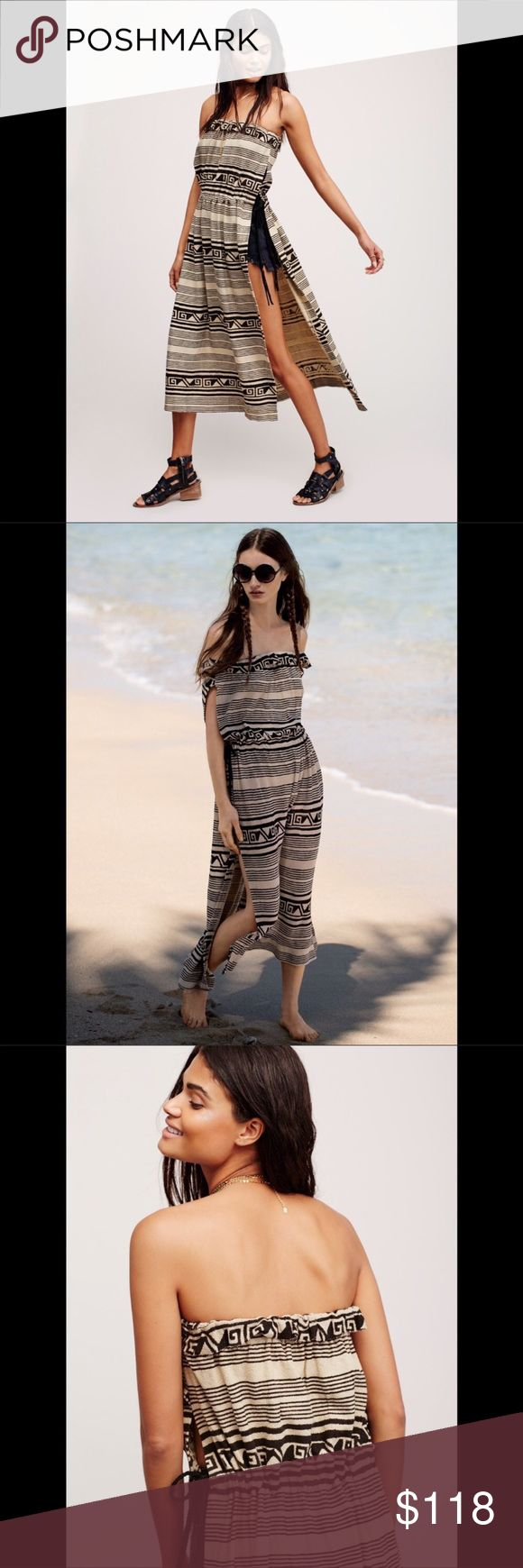 FREE PEOPLE maxi side slit Tribal inspired tube tunic in a maxi length featuring exaggerated side vents. Adjustable waistband with braided suede ties and an elastic band at the bust for an effortless fit. 581167  Retail: $118 Size: L (other sizes listed)  ❤I have over 300 new with tag Free People & More items for sale! I love to offer bundle discounts!  ❤No trades. I no longer discuss pricing in comments. Please use offer button to submit offer!  Free People Dresses Maxi