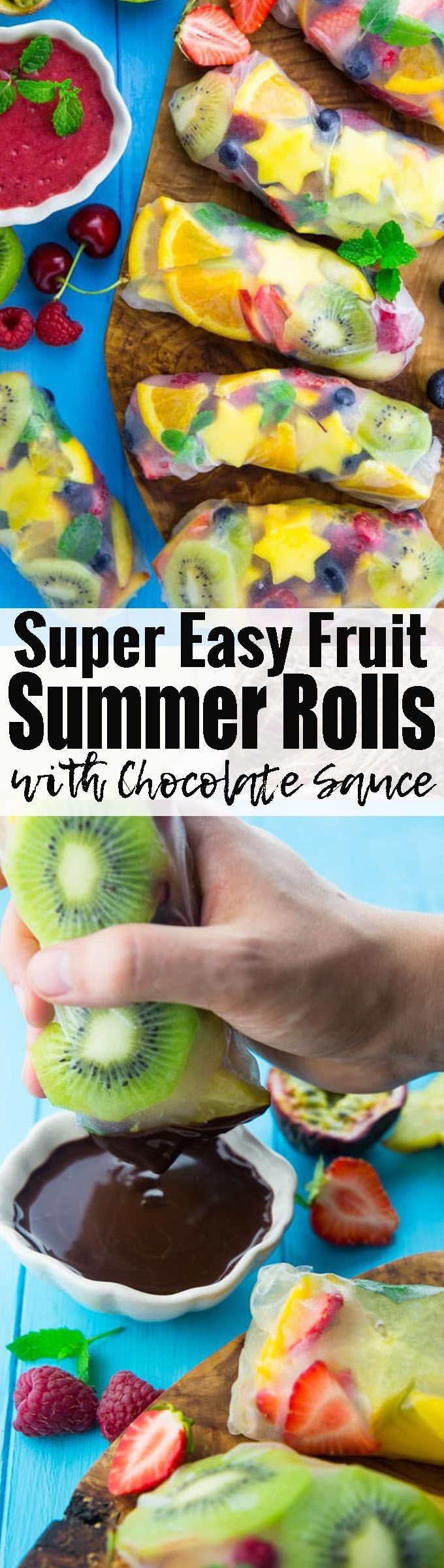 If you're looking for healthy desserts, these fruit summer rolls with chocolate sauce might be perfect for you! Find more vegan desserts and vegan recipes in general at veganheaven.org!