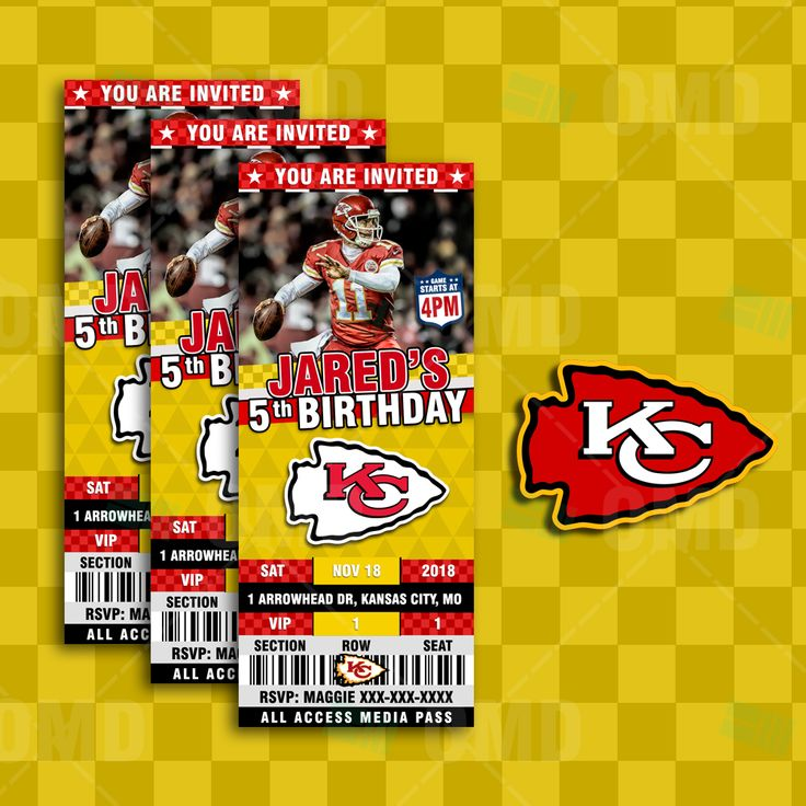 Kansas City Chiefs Ticket Style Sports Party Invites