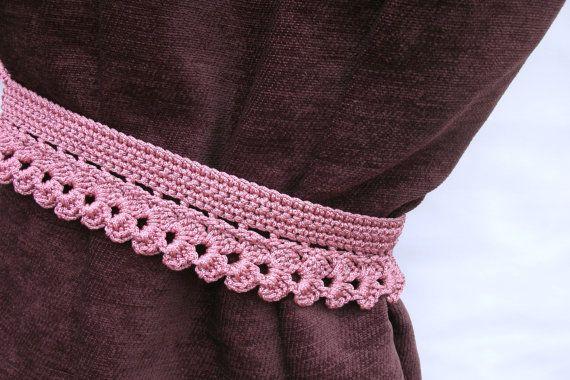Crochet curtain tie backs Curtain holders Dark pink curtain tiebacks Window drapery Window decorations Set of 2 curtain tie backs   A set of 2
