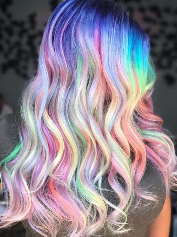 I didn't think I'd like bright green included but this is very pretty ~ 45 Best Pastel Holographic Rainbow Hair Color Ideas 2018