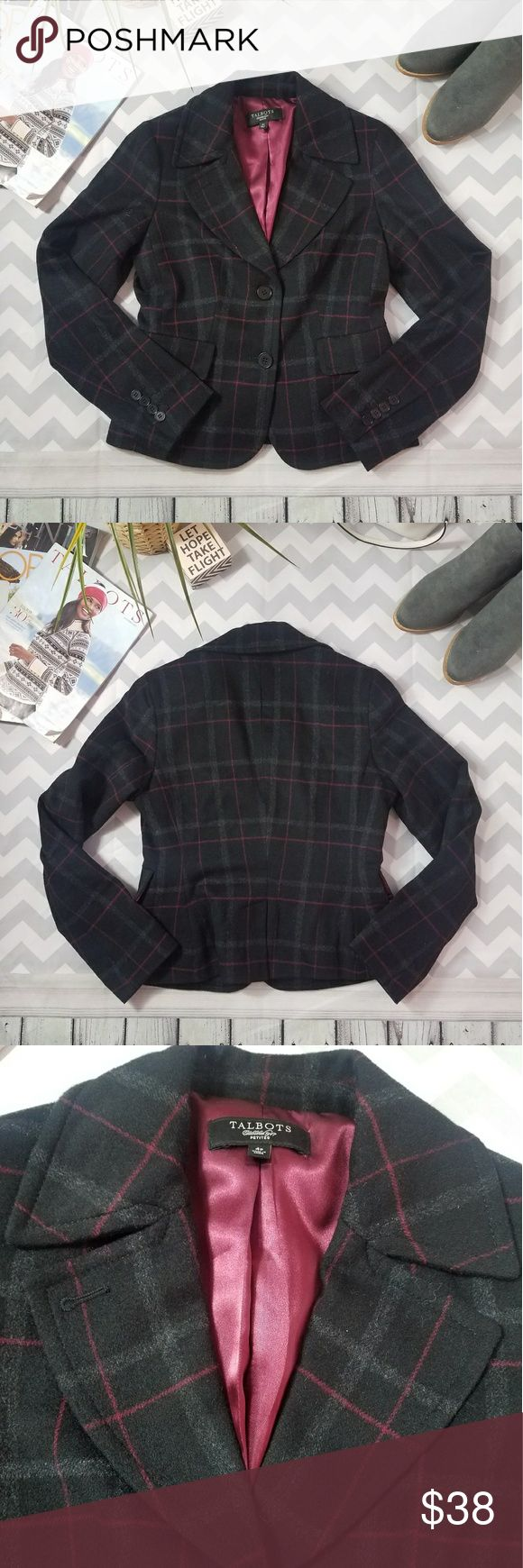 Talbots plaid checked wool black red gray jacket 4 Talbots plaid checked gingham wool black red & gray jacket blazer Super cute and adorable Pefect with cute black pencil or mini skirt Super soft, warm & high quality wool Excellent like new condition Size 4p Please see the pictures for measurements Offers are always welcome! Talbots Jackets & Coats Blazers