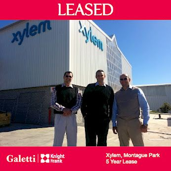 Carl Chapman has concluded a 5 year lease between Xylem Water Solutions and Improvon in Cape Town. Xylem will now occupy a newly developed 1 800 square metre warehouse on Ruby Road in Montague Park. Pictured here are Ernst Vilijoen, Carl Chapman and Grant Lewington. Well done to Carl!