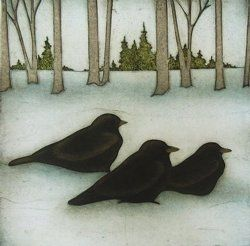 """Three Crows"" limited edition collagraph by Kathleen Buchanan"