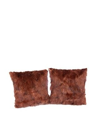 60% OFF Pair of Upcycled Red Fox Pillows, Brown, 18
