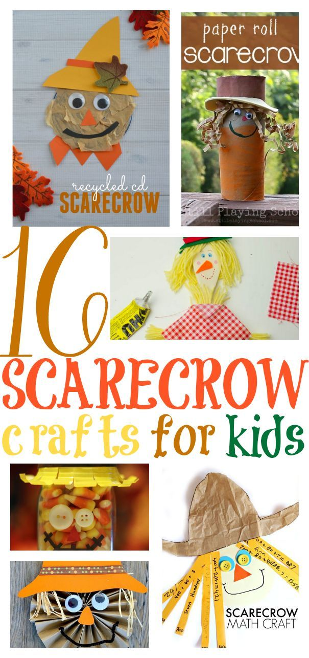 16 Super Fun Scarecrow Crafts! Scarecrows are the perfect fall mascot for kids of all ages because they are not really scary.