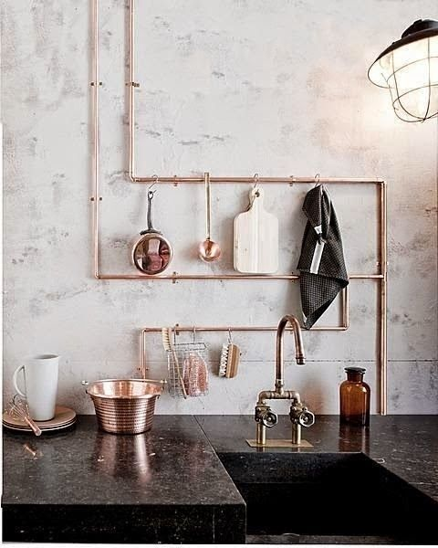 Copper details in the kitchen.