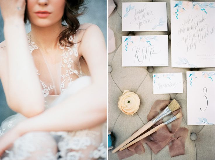 Lace Wedding Gown & Watercolor wedding invitation suit | Blue Watercolor wedding inspiration | Photography : yaroslavandjennyphotography.com/ | Read more #weddinginspiration on fabmood.com: