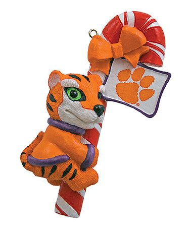 Take a look at this Clemson Mascot Candy Cane Ornament by Champion Treasures on #zulily today!