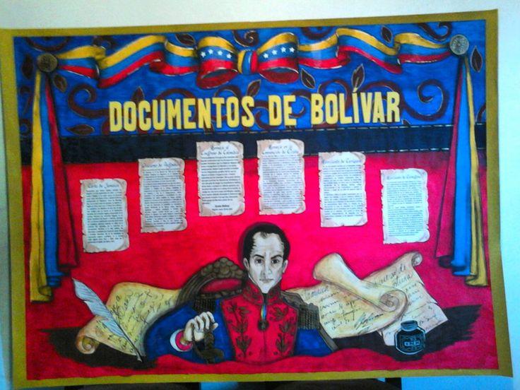 Cartelera escolar. Documentos de El Libertador Simón Bolívar. Dibujo, diagramación, ilustración e idea: Kelly Carrillo Sánchez.