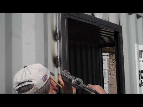 How To Install A Door In A Metal Shipping Container - YouTube