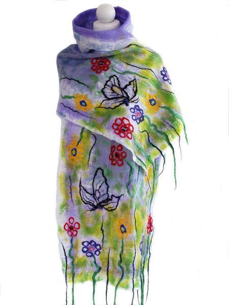Szal+jedwabny,+wiosenna+łączka,+multikolor+w+Art-Mode+na+DaWanda.com