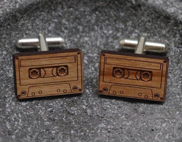Wooden Cassette Cufflinks – $50