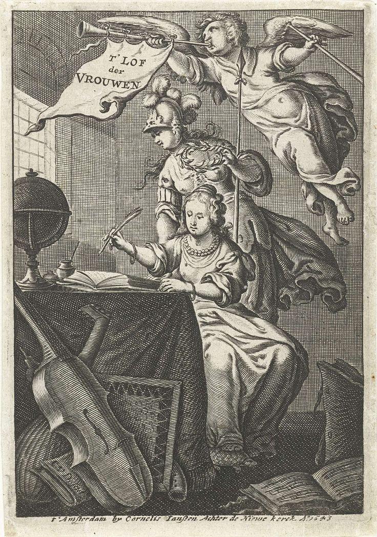 Cornelis van Dalen (I) | Vrouw schrijft aan tafel in bijzijn van Minerva en Faam met loftrompet, Cornelis van Dalen (I), Cornelis Jansz., 1643 | Vrouw schrijft aan tafel waarop globe staat. Minerva kijkt over haar schouder mee en houdt lauwerkrans vast. De voet van de zittende dame rust op een schildpad, mogelijk kan zij geïdentificeerd worden als Venus Urania als symbool van de huiselijkheid. Faam blaast op loftrompet met vaandel waarop titel staat. Op de grond liggen muziekinstrumenten en…