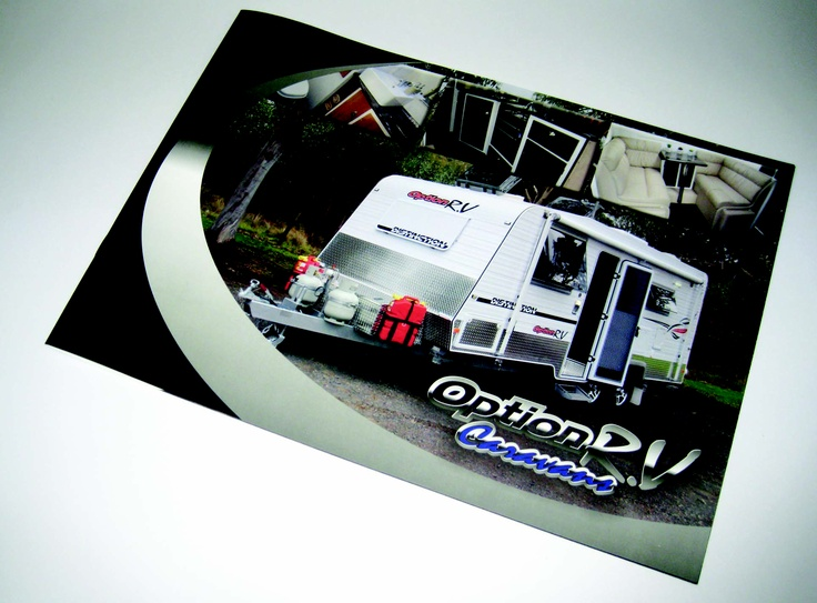 Booklets designed and printed for OptionRV Caravans, thank you. Want to try something a little different? Lanscape booklets can make your business unique!