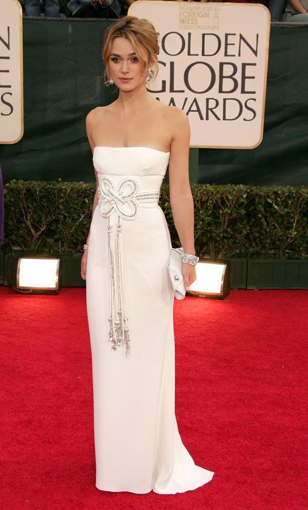Golden Globes 2015: Keira Knightley wearing a white Valentino dress #fashion