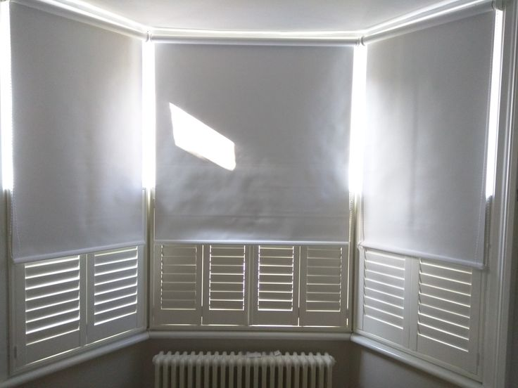 Blackout Roller Blinds With Cafe Half Height Shutters